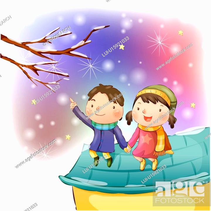Stock Photo: holding hands, snow, dating, boy, girl, child.