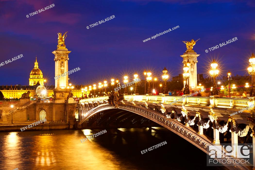 Stock Photo: Pont Alexandre III in Paris France sunset over Seine river.