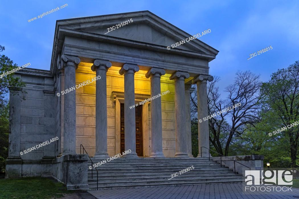 Stock Photo: Clio Hall Princeton University - A view to the illuminated iconic style Greek Temple Clio Hall during the blue hour of twilight.