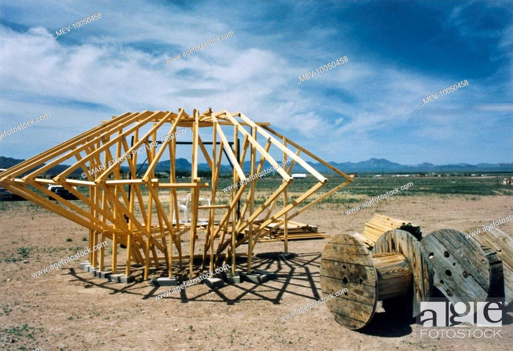 A flying saucer under construction outside Rachel, Nevada, Stock