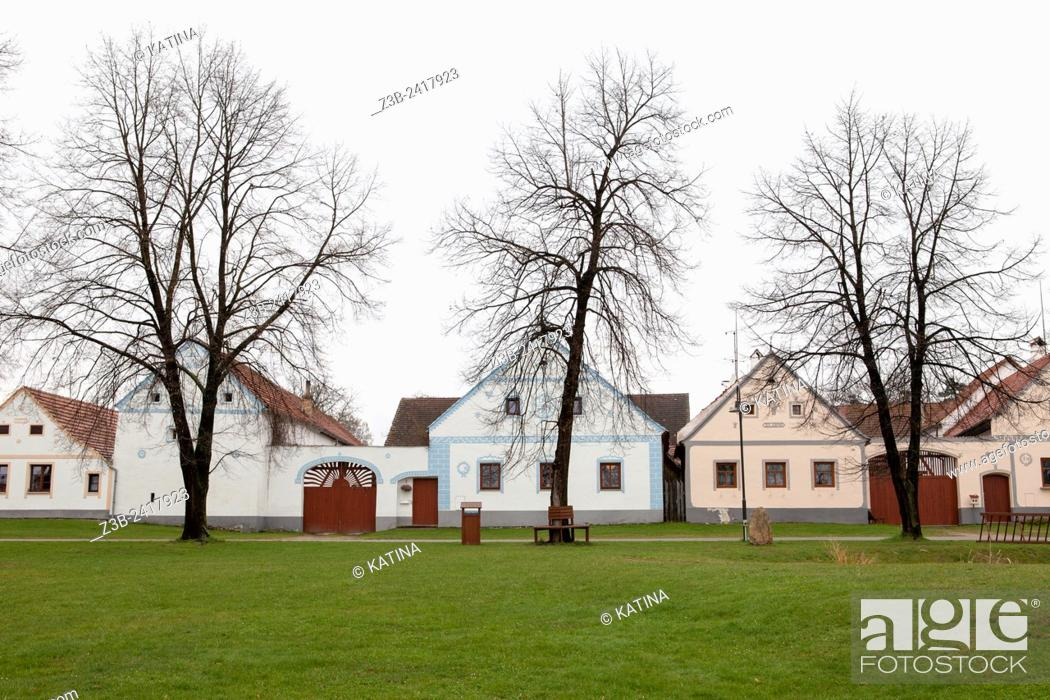 Stock Photo: Holašovice Historical Village Reservation. Holašovice is an exceptionally complete and well-preserved example of a traditional central European village.