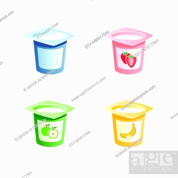 Vector: Yogurt flavors with spoon inside on white background.