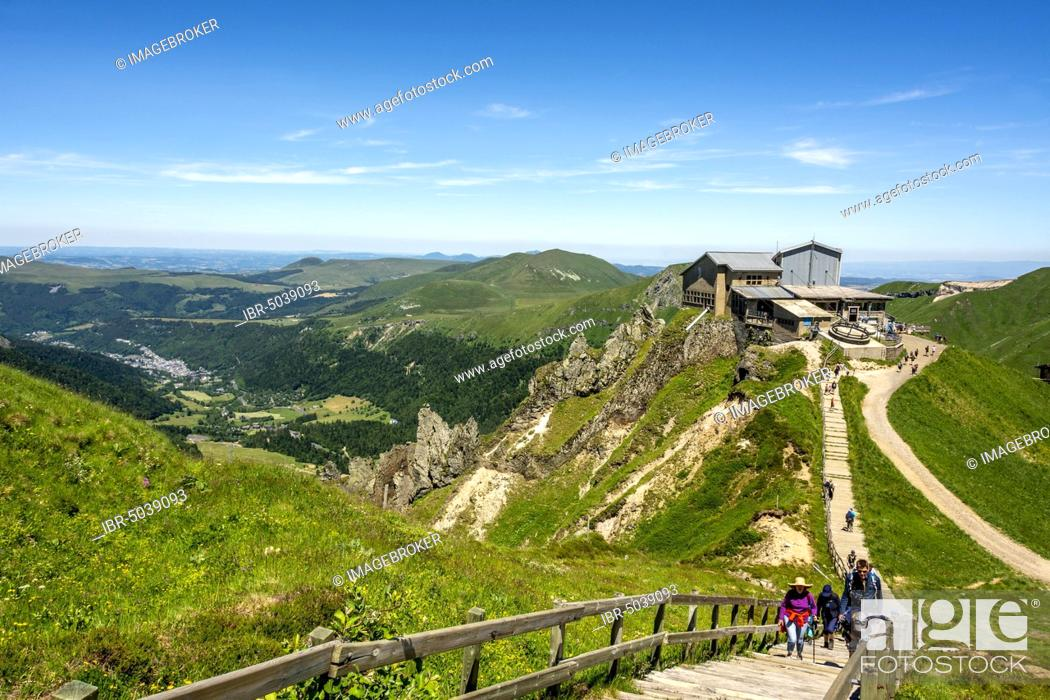 Stock Photo: Mountain station of the cable car of Sancy, Massif of Sancy, Auvergne Volcanoes Natural Regional Park, Massif du Sancy, Auvergne, France, Europe.