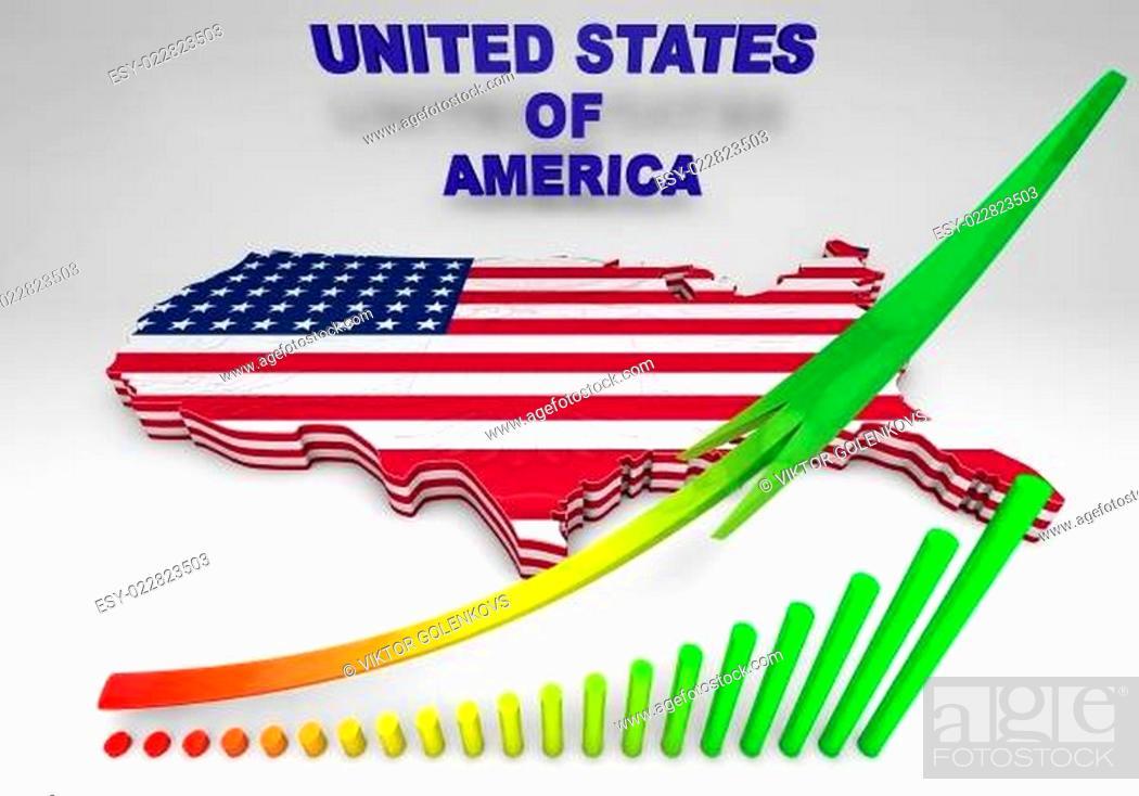 Imagen: U.S.A. mapped flag in 3D illustration .