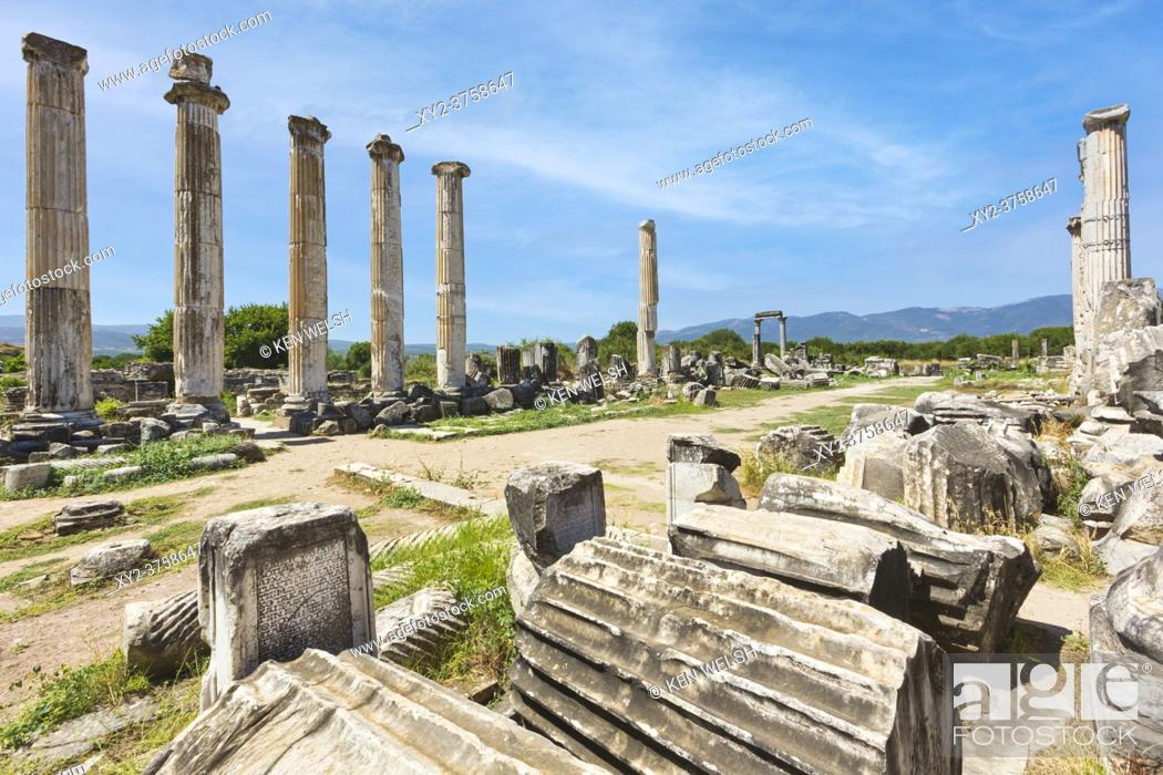 Stock Photo: Ruins of Aphrodisias, Aydin Province, Turkey. Ruins of the Temple of Aphrodite. Aphrodisias, which is a UNESCO World Heritage Site, was dedicated to Aphrodite.