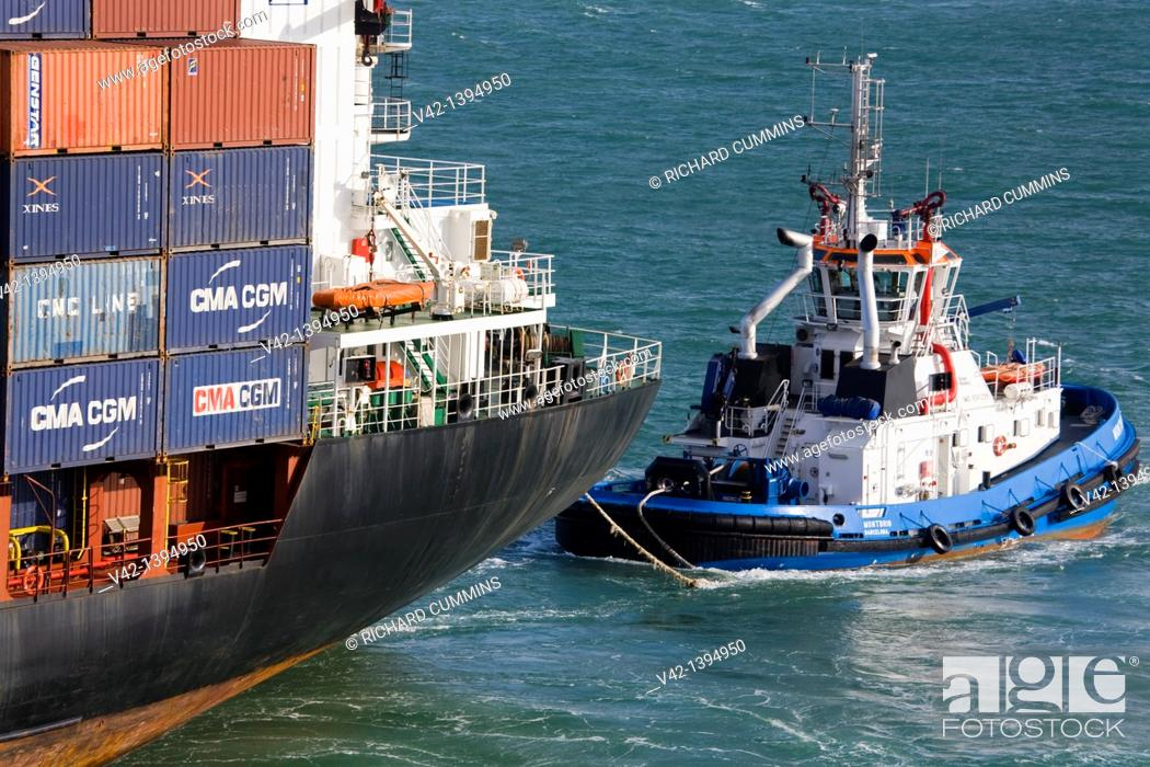 Stock Photo: Tugboat operations in Port of Barcelona, Catalonia, Spain, Europe.