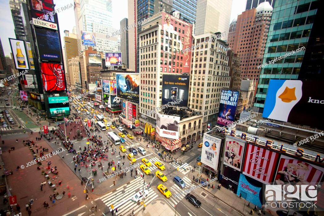 Stock Photo: Busy Times Square-Broadway, New York City, USA, America.