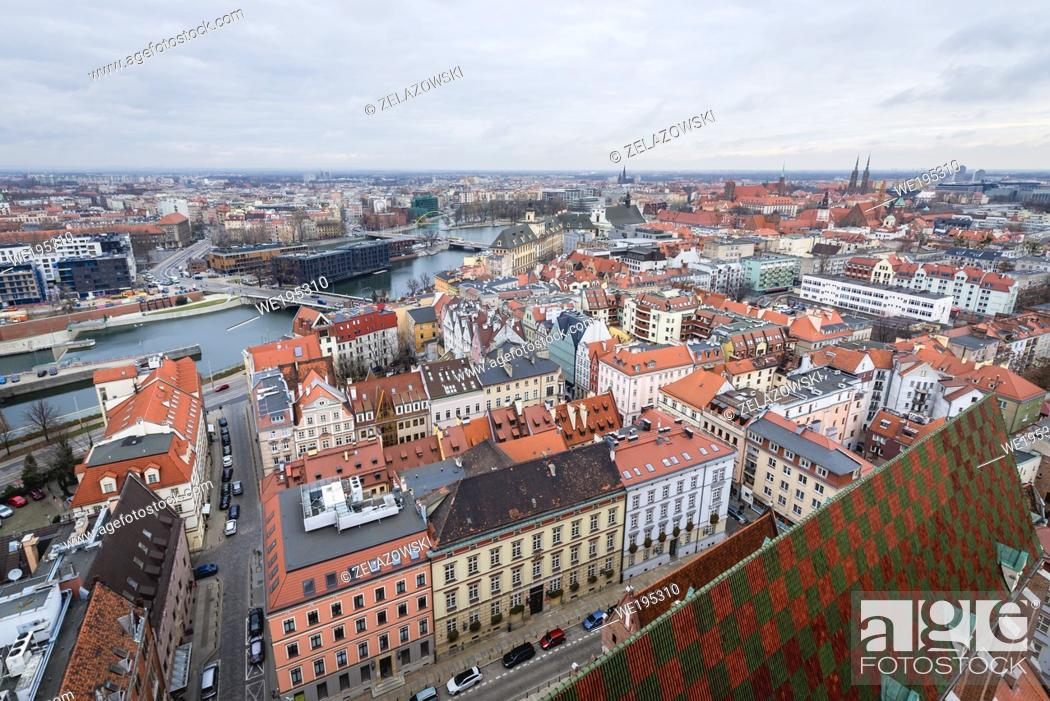 Stock Photo: Aerial view from Garrison Church in Old Town of Wroclaw, Poland - view with Oder river bank.