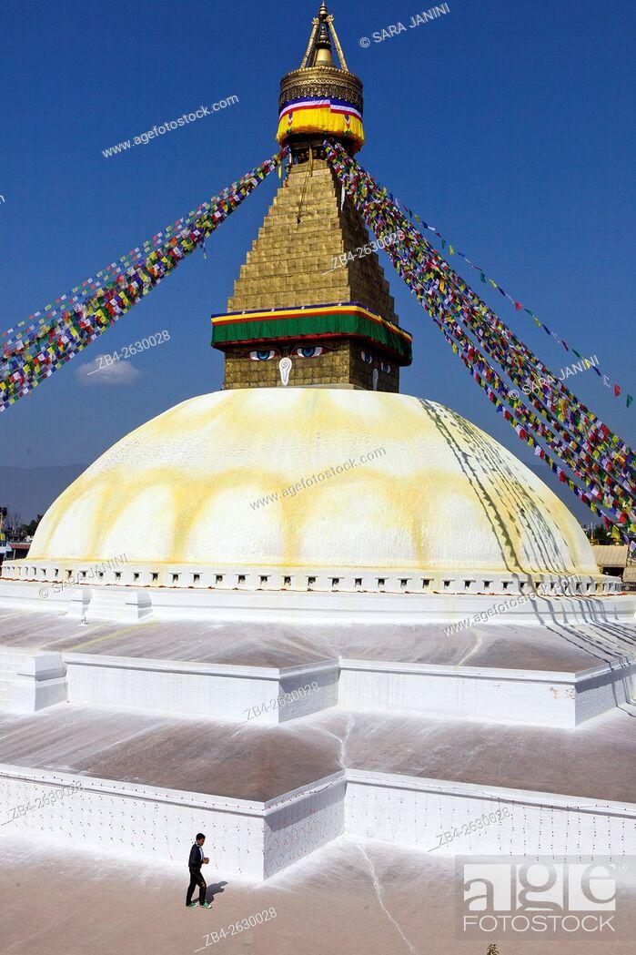 Stock Photo: Boudhanath stupa, Kathmandu, Nepal, Asia.
