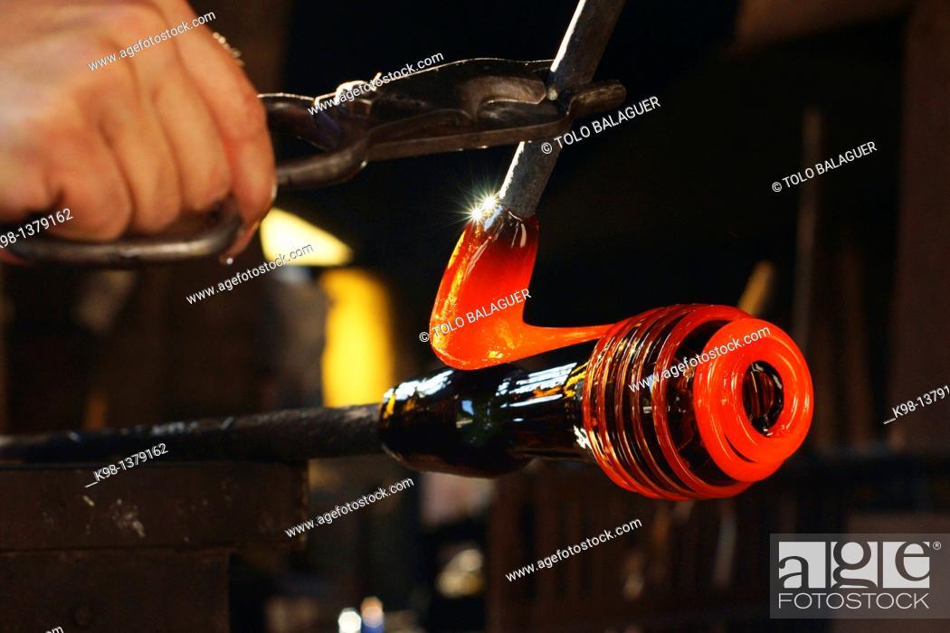 Stock Photo: Handmade glass manufacturing Guardiola, Algaida Es Pla Mallorca Illes Balears Spain.
