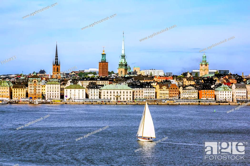 Stock Photo: September 4, 2015 .Stockholm.View the sights and the harbour in the old town of Stockholm. Sweden.