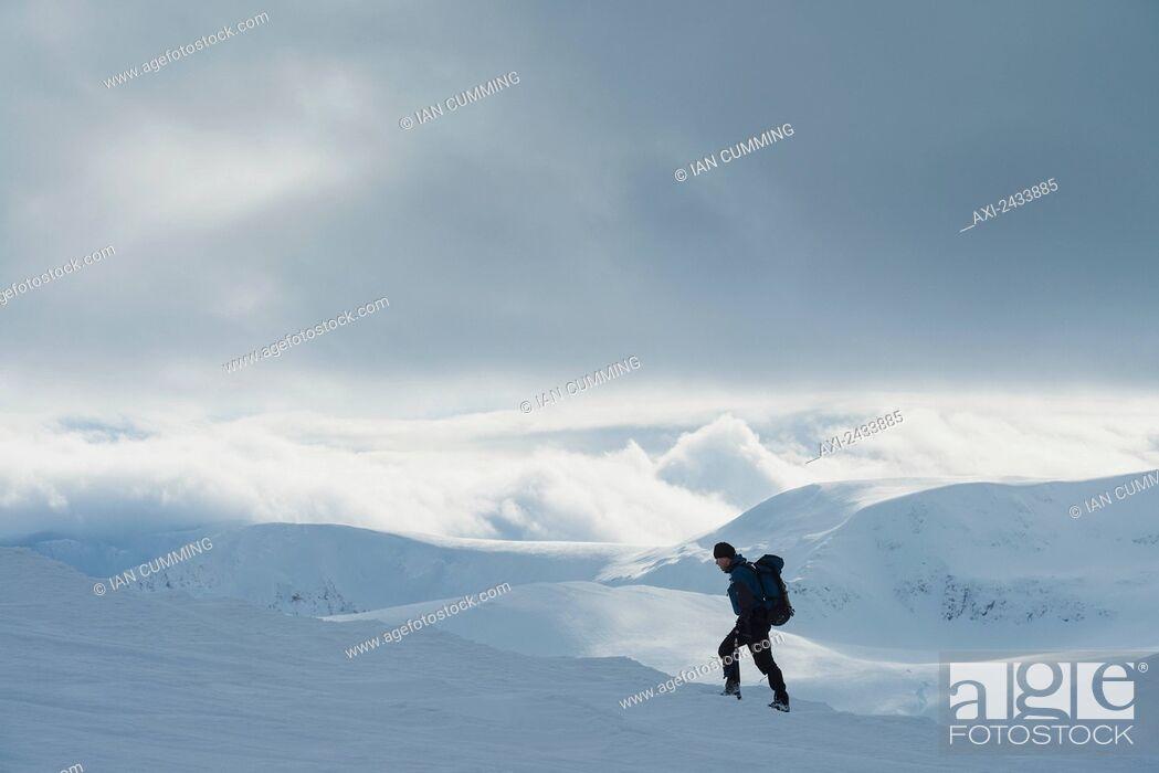 Imagen: Walker on snowy, winter walk ascending Geal Charn, near Laggan; Scotland.