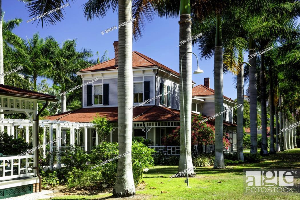 Stock Photo: 'Seminole Lodge' - winter home of inventor Thomas Edison, Ft Myers, Florida, USA.