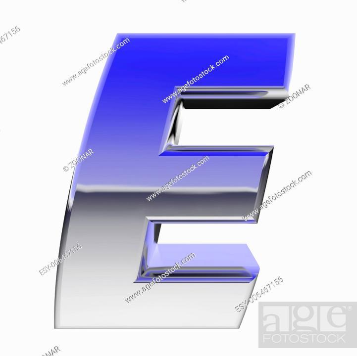 Chrome alphabet symbol letter E with color gradient