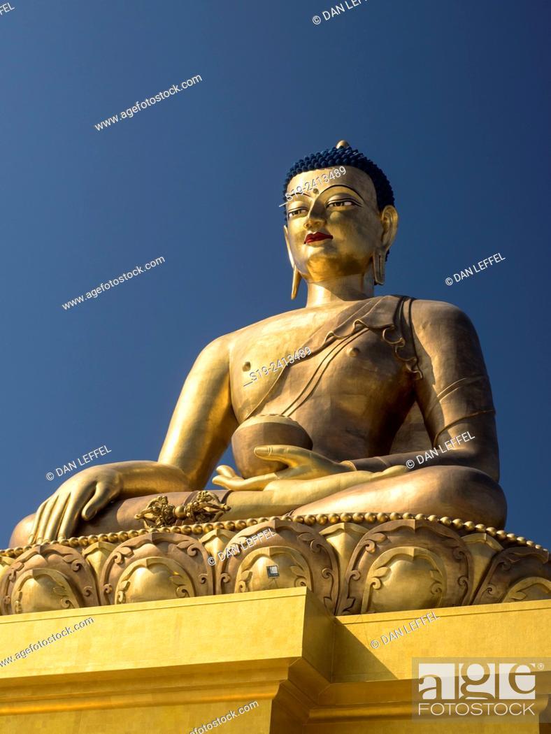 Stock Photo: World's largest Buddha, Thimpu, Bhutan.