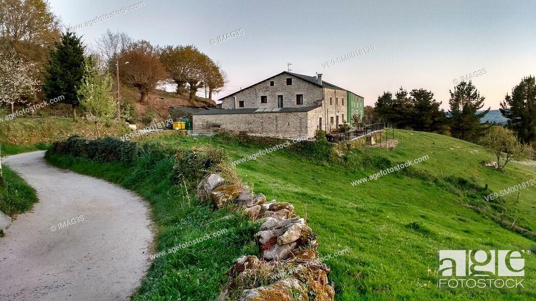 Stock Photo: Camino de Santiago, Morgade, Lugo province, Spain.