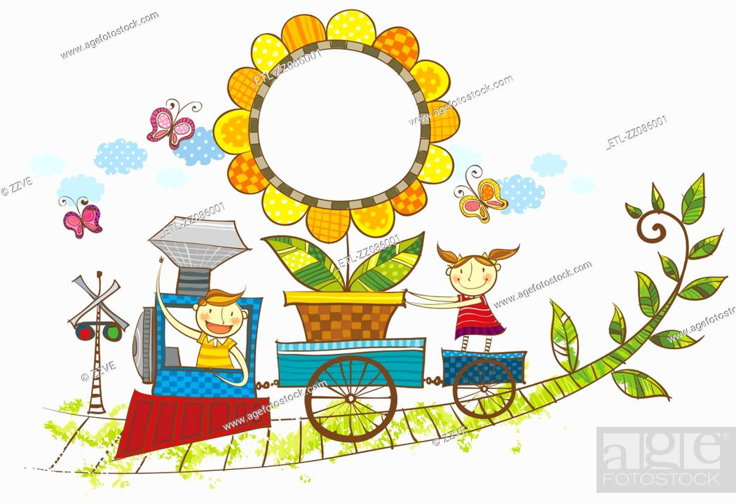 Stock Photo: Children on train carrying flower plant.