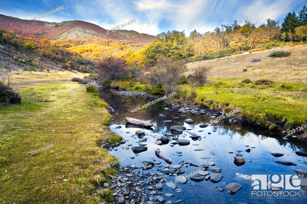 Stock Photo: The Lillas river in the Sierra Norte Guadalajara Castilla la Mancha Spain.