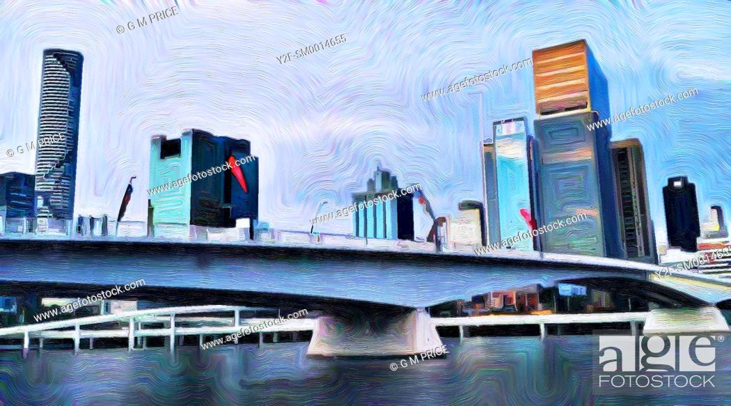 Stock Photo: painting filter view of bridge over Brisbane river and city skyline.
