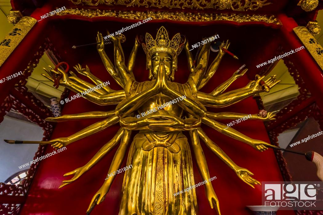 Stock Photo: Statue of the Avalikitesvara Goddess, Yuantong Temple, the largest Buddhist temple in Kunming, Yunnan Province, China. It was first built in the late 8th and.