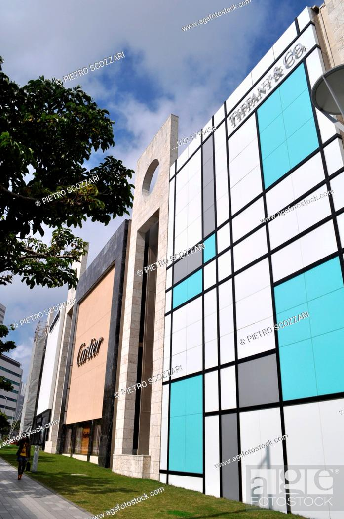 83e010f19 Stock Photo - Naha Japan: Tiffany and Cartier shops at DFS Okinawa Galleria  mall, by Omoromachi Station