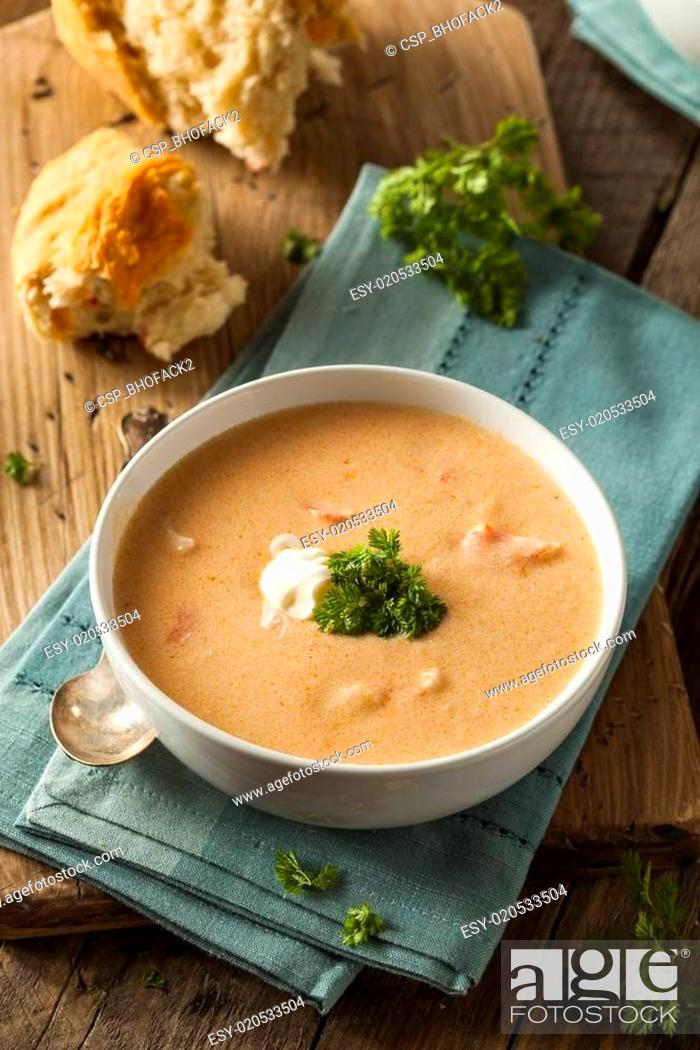 Stock Photo: Homemade Lobster Bisque Soup.