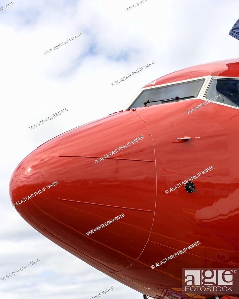 Norwegian 737 MAX at Seattle Delivery Center, red bow of