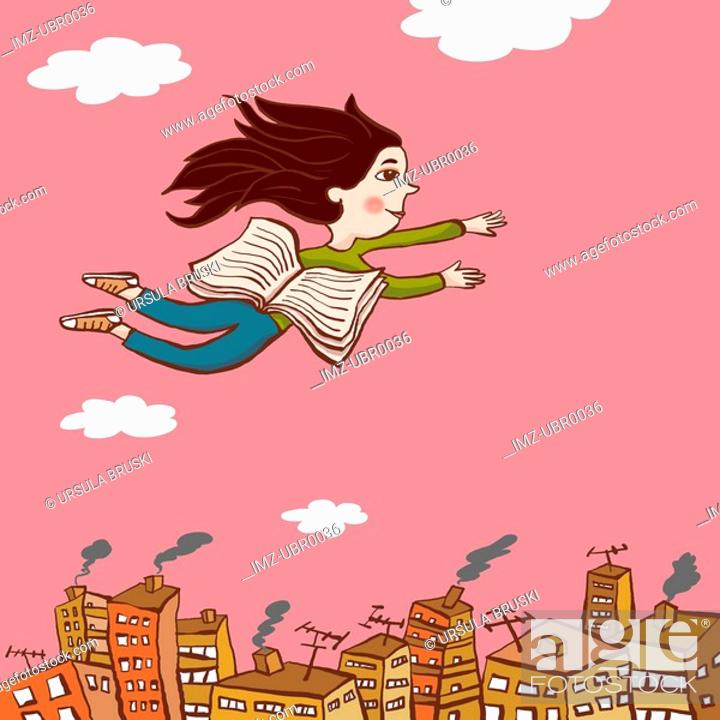 Stock Photo: A drawing of a young girl flying over a city with the pages of a book acting as wings.