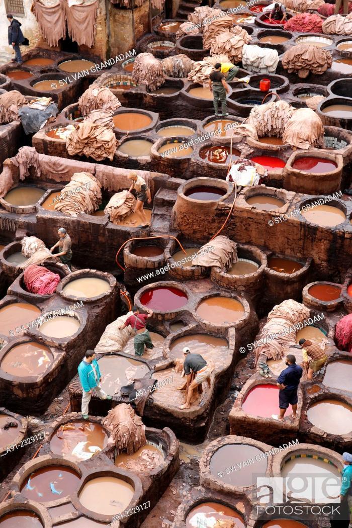 Stock Photo: North Africa, Morocco, City of Fez (Fes), Medina, Chouara tanners quarter.