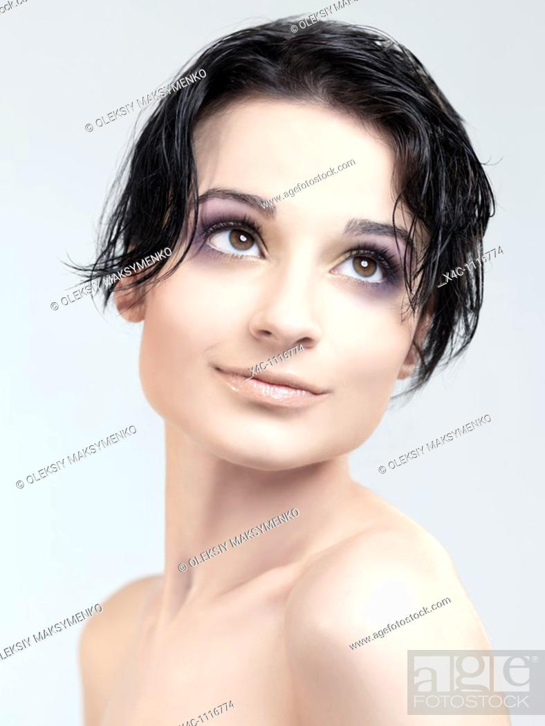 Stock Photo: Beautiful young woman face  Beauty headshot.