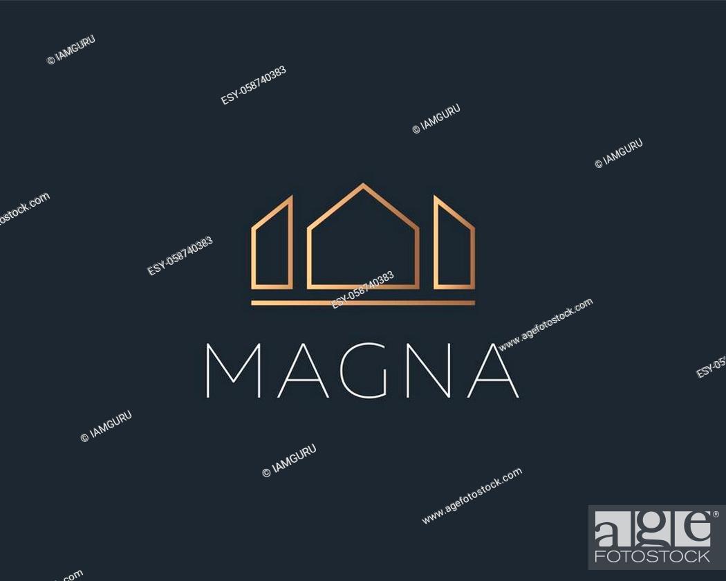 Stock Vector: Elegant crown king house premium symbol vector logotype. Luxury geometric city real estate construction vector emblem icon logo sign in minimal style on dark.