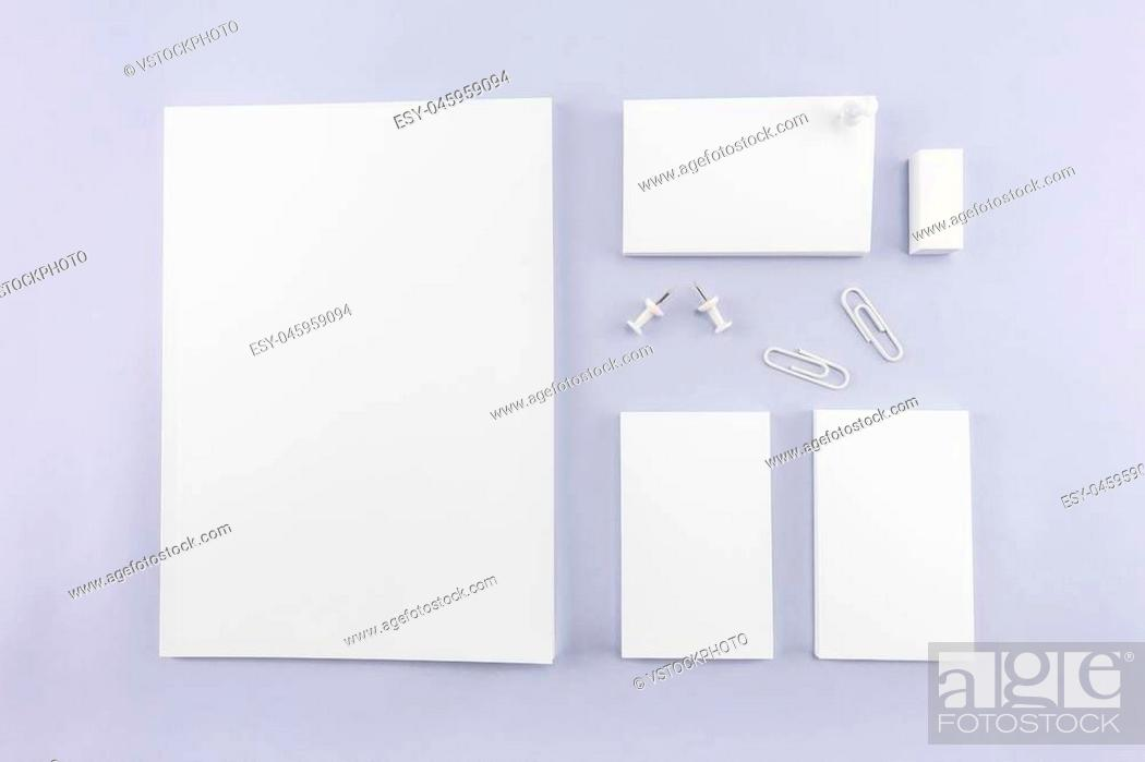 Stock Photo: Collection of Blank catalog, magazine, book template and business card with soft shadows. Ready for your design.