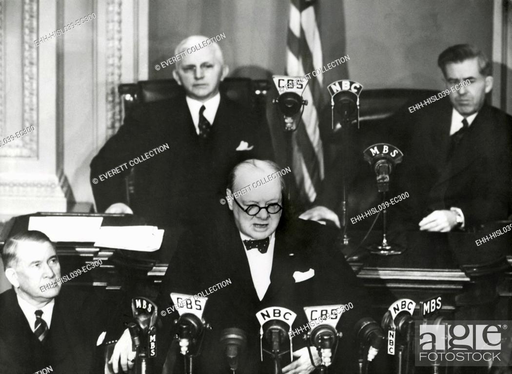 Stock Photo: Prime Minister Winston Churchill speaking to a joint session of Congress, Dec. 26, 1941. Less than 3 weeks after the Japanese Attack on Pearl Harbor.