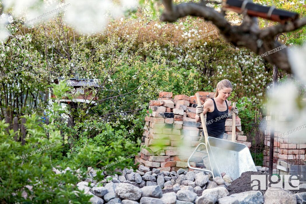 Stock Photo: Woman working in garden.