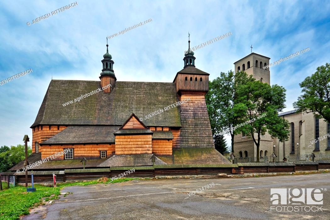 Stock Photo: Church of the Assumption of Holy Mary and St. Michael's Archangel, Haczow, Poland - Haczow, Poland, 23/06/2015.