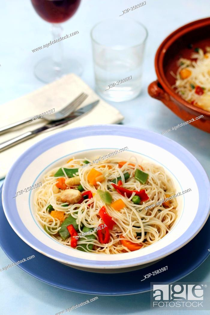 Stock Photo: Chinese noodles with vegetables.