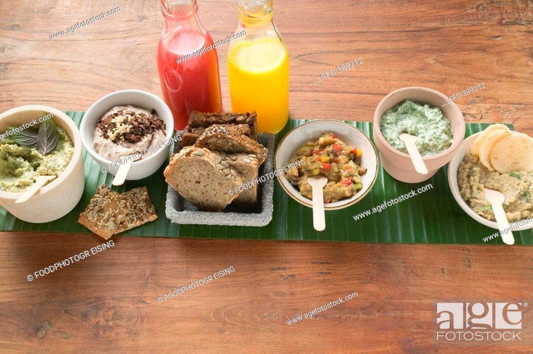 Stock Photo: Vegetarian spreads.
