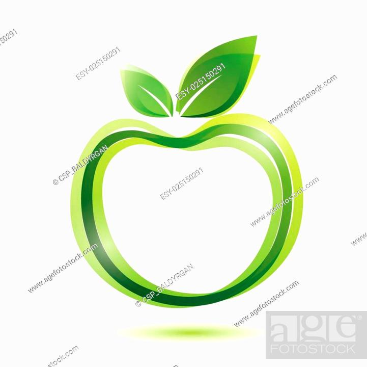 Stock Vector: green apple logo-like icon.