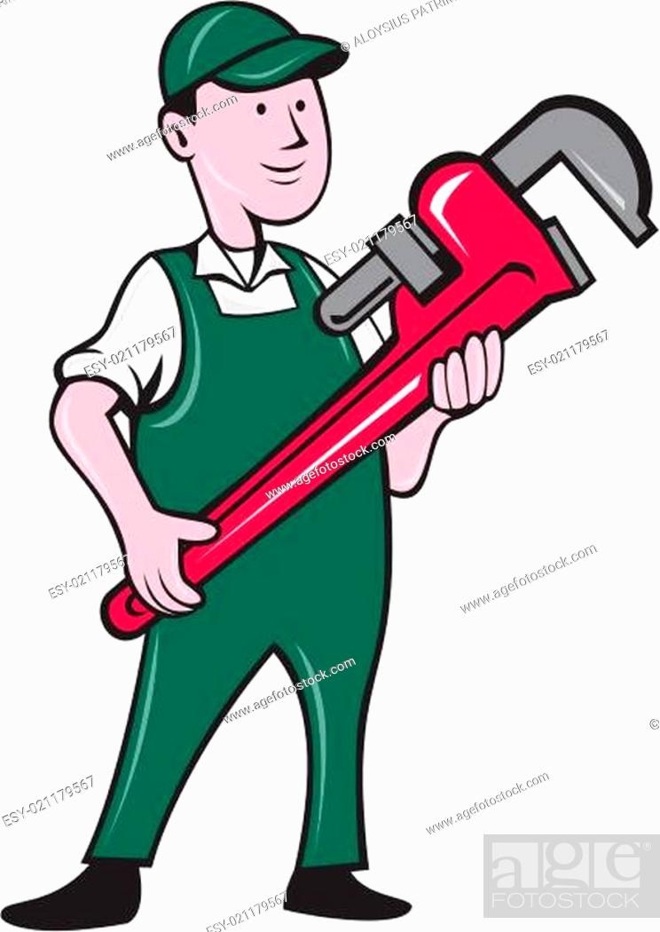 Plumber Holding Monkey Wrench Cartoon Stock Photo Picture And Low Budget Royalty Free Image Pic Esy 021179567 Agefotostock