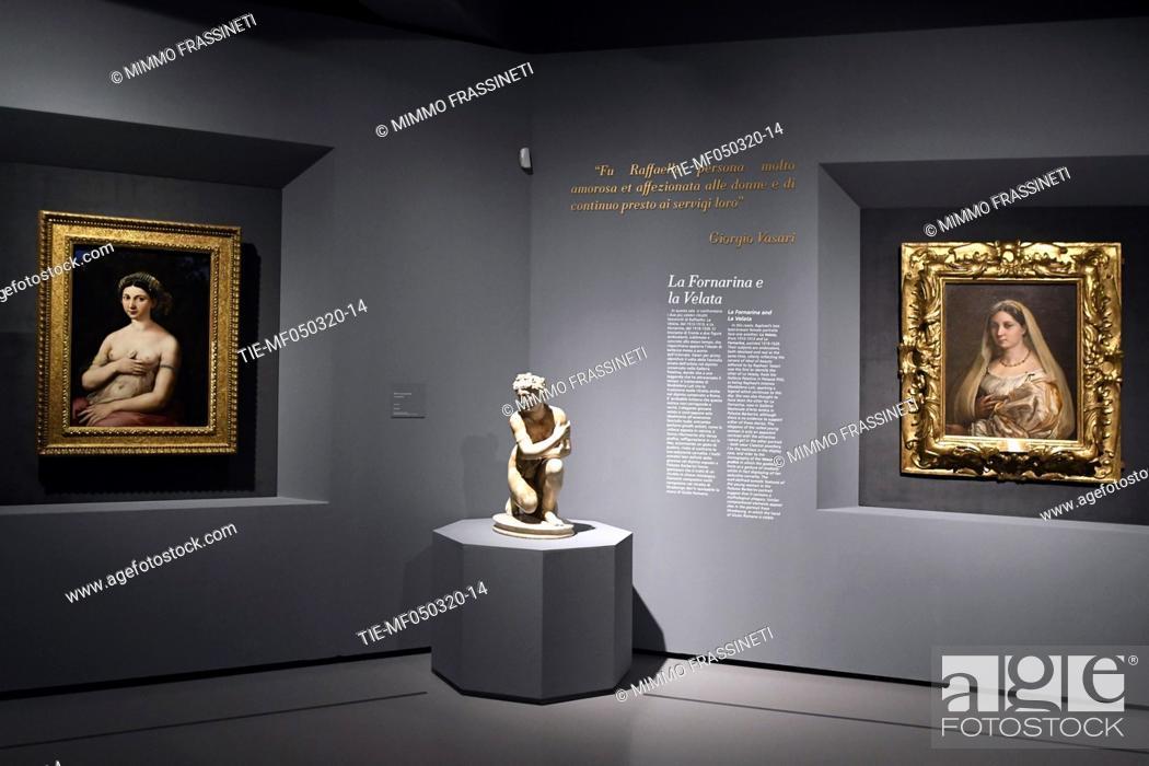 Stock Photo: ' The Fornarina' , 'Venus squatting' I Century A.D., La Velata by Raphael in Rome, ITALY-04-03-2020.