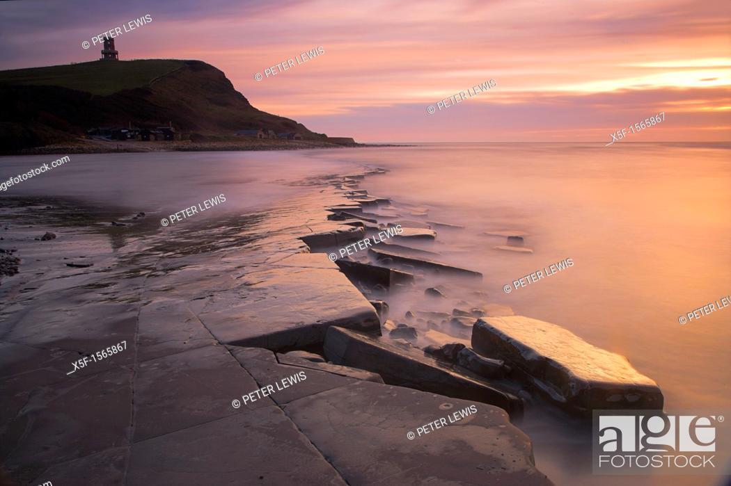 Stock Photo: Winter sunset on the Kimmeridge ledges Dorset.