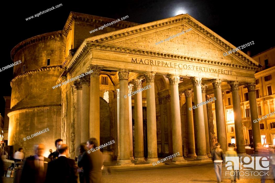 Stock Photo: Group of people in front of a pantheon, Pantheon Rome, Rome, Italy.