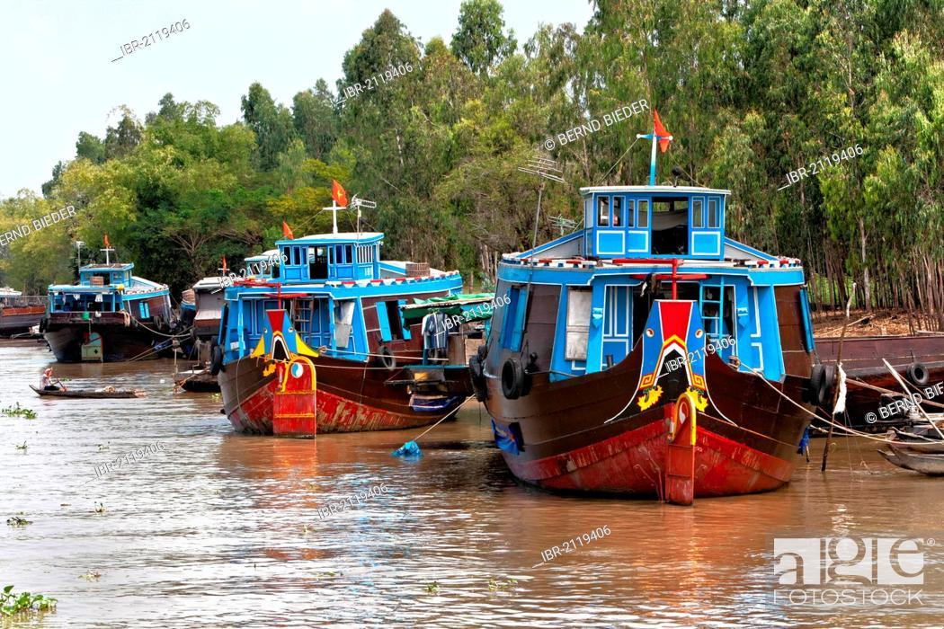 Stock Photo: Boats, Mekong Delta, Vietnam, Southeast Asia, Asia.