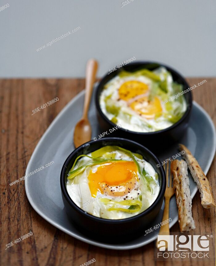 Stock Photo: Coddled eggs with leeks.