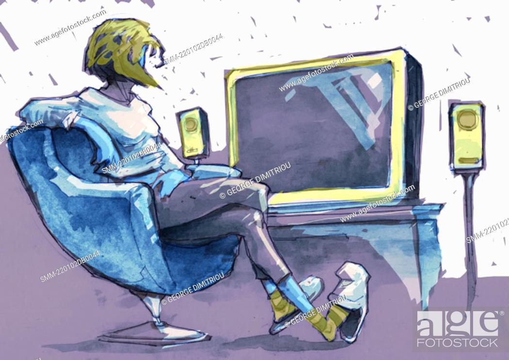 Photo de stock: Woman sitting in armchair watching TV.
