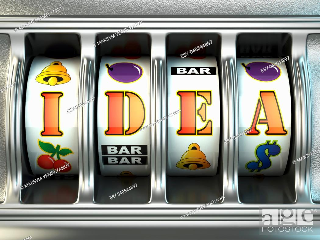 Stock Photo: Idea concept. Slot machine with text. 3d.
