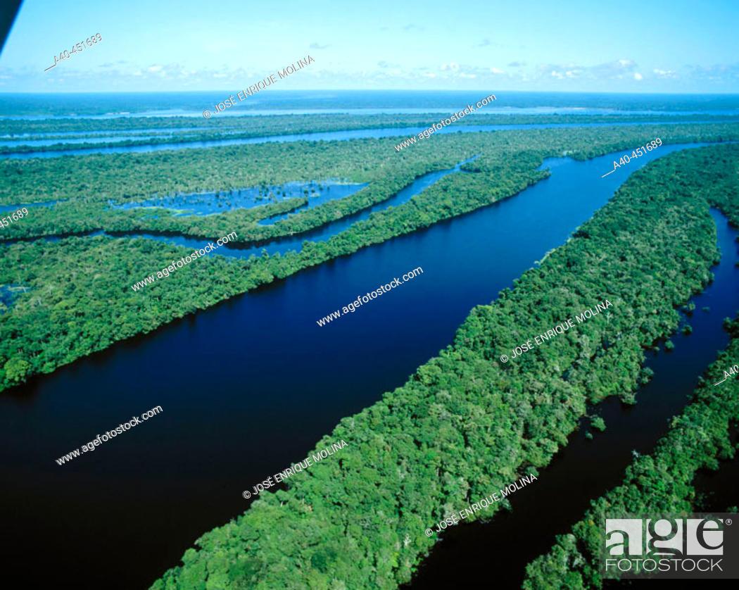 Stock Photo: Archipelago of Anavilhanas at Amazon River, near Manaus. Brazil.