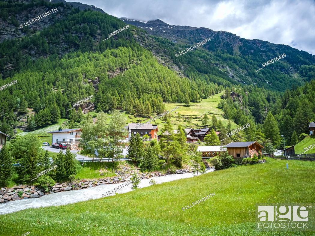 Stock Photo: Idyllic Oetz Valley in Zwieselstein, Tyrol, Austria.