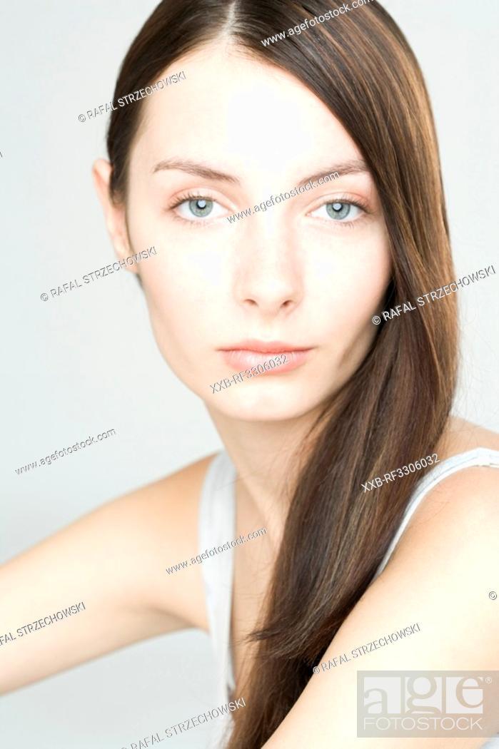 Stock Photo: portrait of beauty brunette.