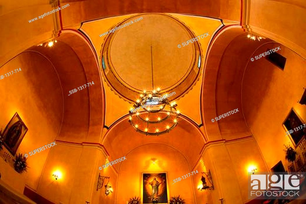 Stock Photo: Low angle view of the ceiling of a church, Mission Concepcion, San Antonio Missions National Historical Park, San Antonio, Texas, USA.